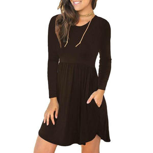 Amazon Best Seller Women's Long Sleeve Loose Plain Dresses Casual Short Dress with Pockets