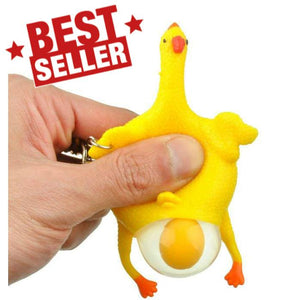 Funny Squishy Squeeze Toys Chicken and Eggs Key Chain Ornaments - 10 Pack