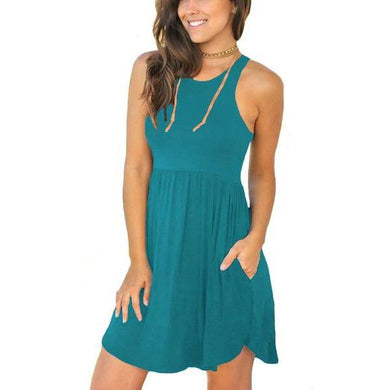 Amazon Best Seller Women's Sleeveless Loose Plain Dresses Casual Short Dress with Pockets