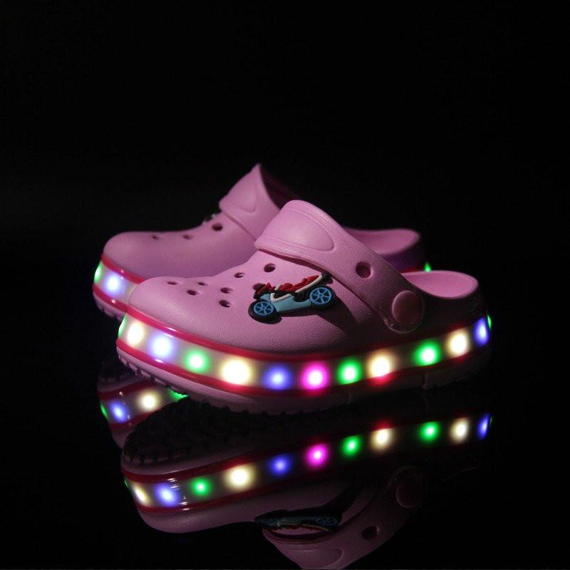 Kids Light Up Led Clogs - Pink