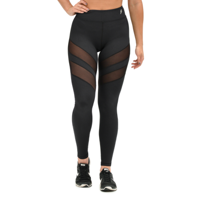 Mesh Panel Leggings - Black