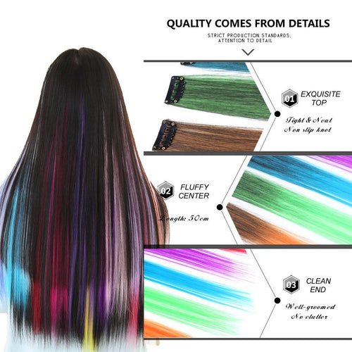 50CM Colorful Single Clip In One Piece Hair Extensions - Mix Colors