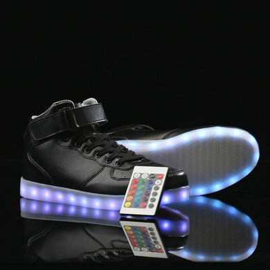 Remote Control High Top Led Shoes - Black