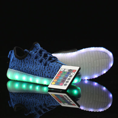 Remote Control Yeezy Light Up Shoes - Blue