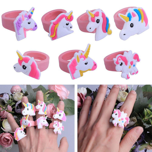 Wholesale Soft Silicone Unicorn Finger Ring Children Kids Casual Gift Toy- 30 pack
