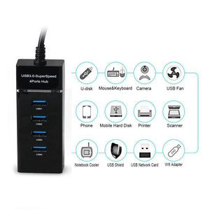 Amazon Bestseller 4-Port USB 3.0 Hub with Individual Power Switches and LEDs