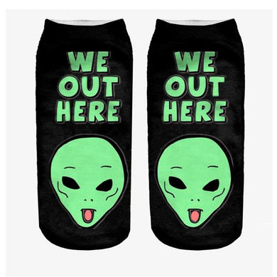 Unisex 3D We Out Here Printed Socks - 6 Pack