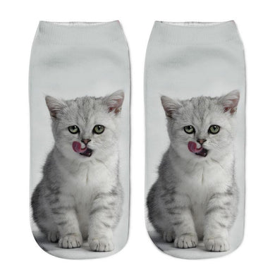 Unisex 3D White Cat Printed Socks - 6 Pack