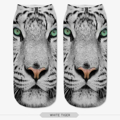 Unisex 3D White Tiger Printed Socks - 6 Pack