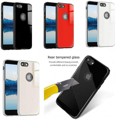 IPhone Rear Tempered Glass Case With Reinforced Bumper Hybrid Air Cushion Grip Hard Slim Fit Cover