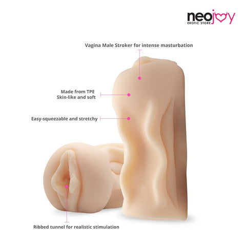 Neojoy Soft Vagina Stroker Sex Doll TPE Realistic Vagina & Ass - Flesh - 6 inch -15cm