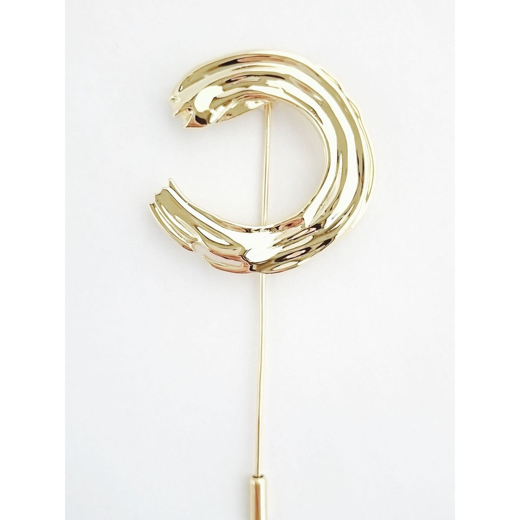 Circle Brush Stroke Brooch-Brooches-Everard & Wang