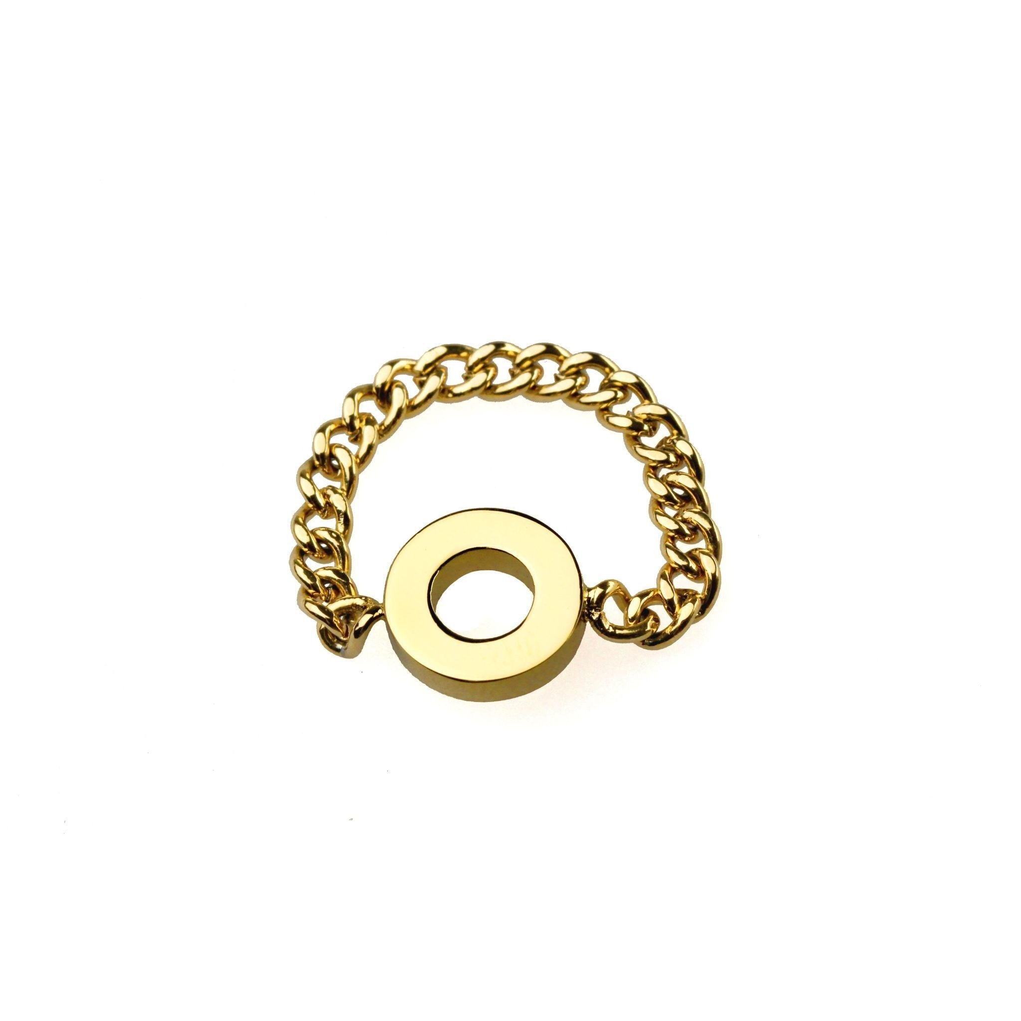 Fang Yuan Circle Chain Ring Yellow Gold-Rings-Everard & Wang