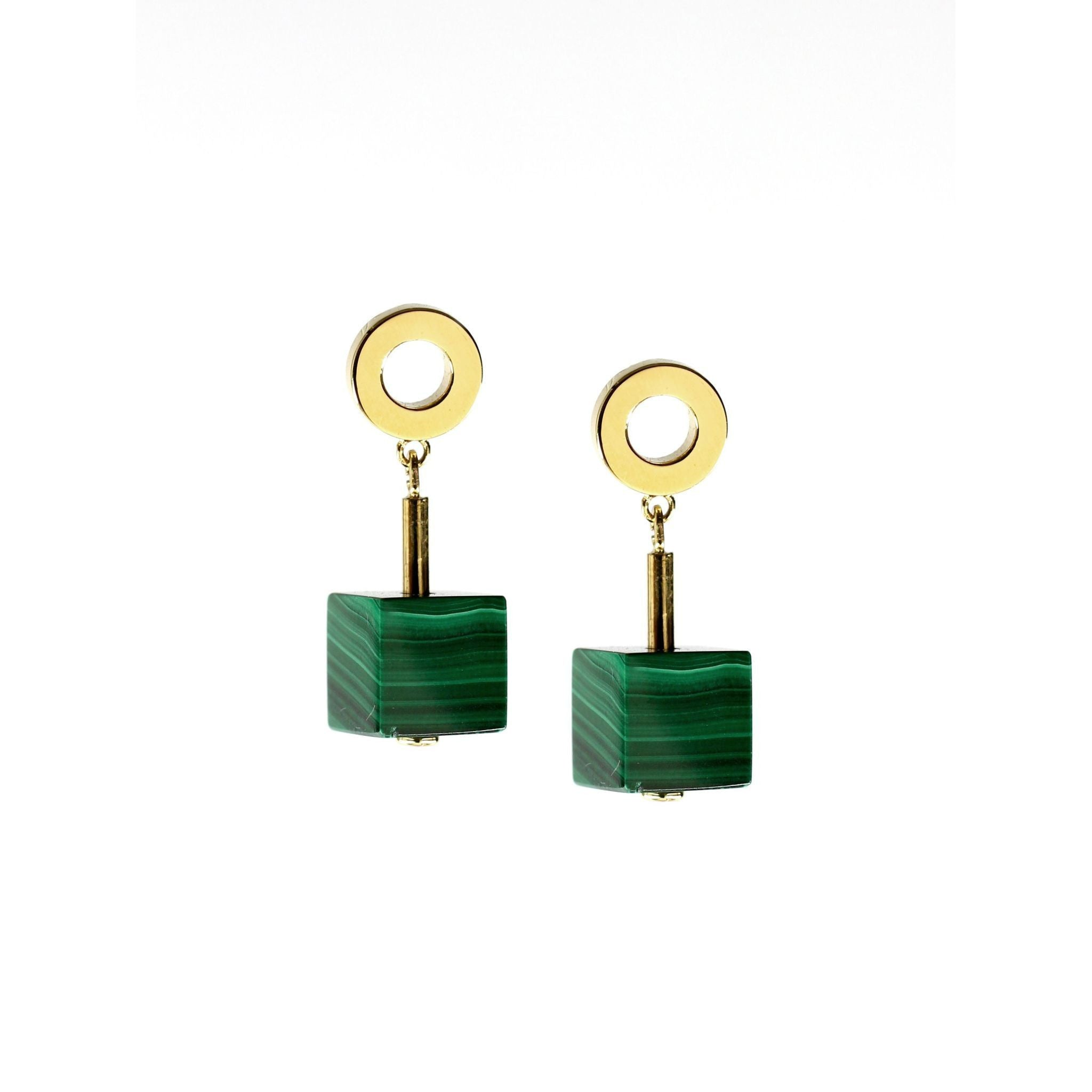 Fang Yuan Drop Earring Malachite-Earrings-Everard & Wang