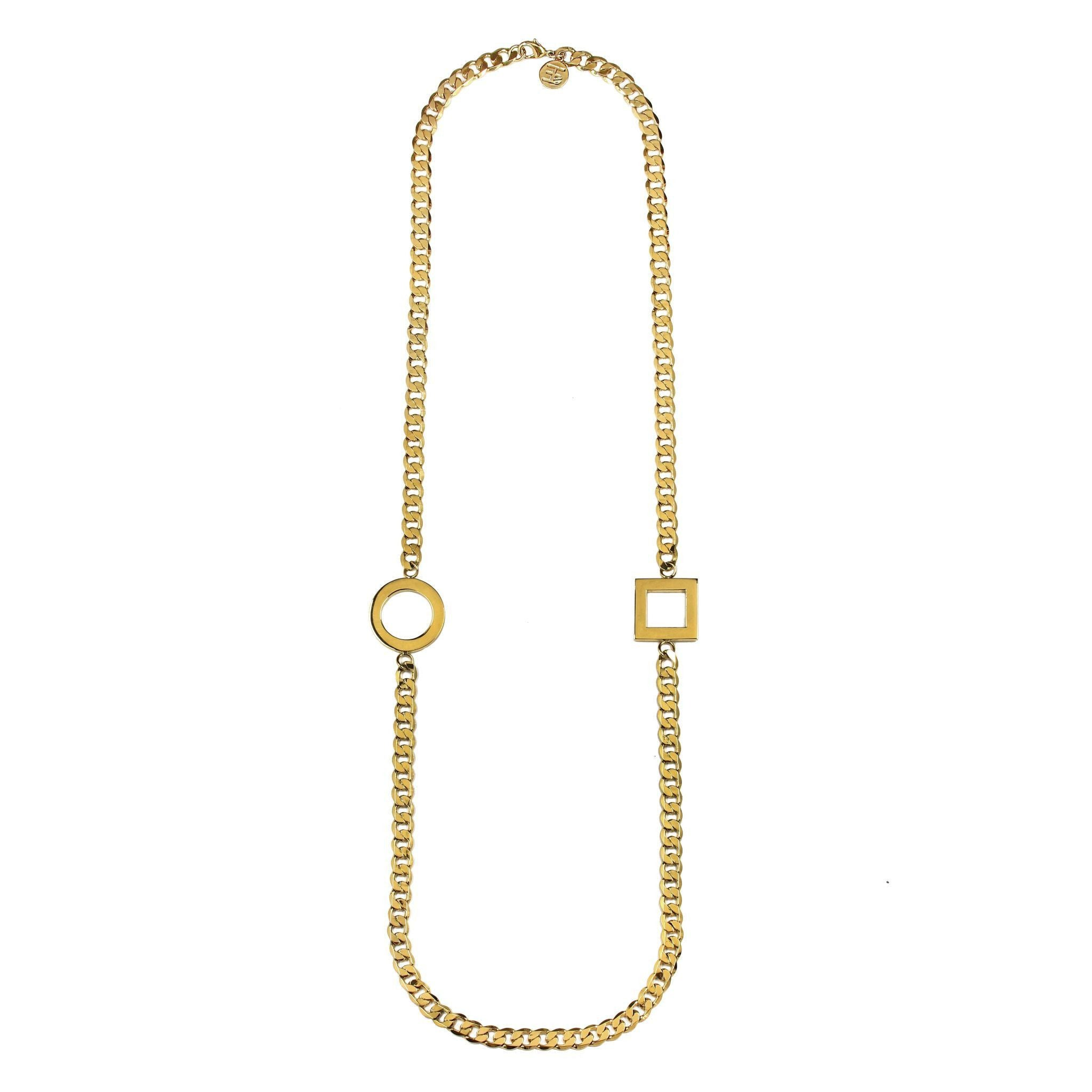 Fang Yuan Long Loop Necklaces Yellow Gold-Necklaces-Everard & Wang