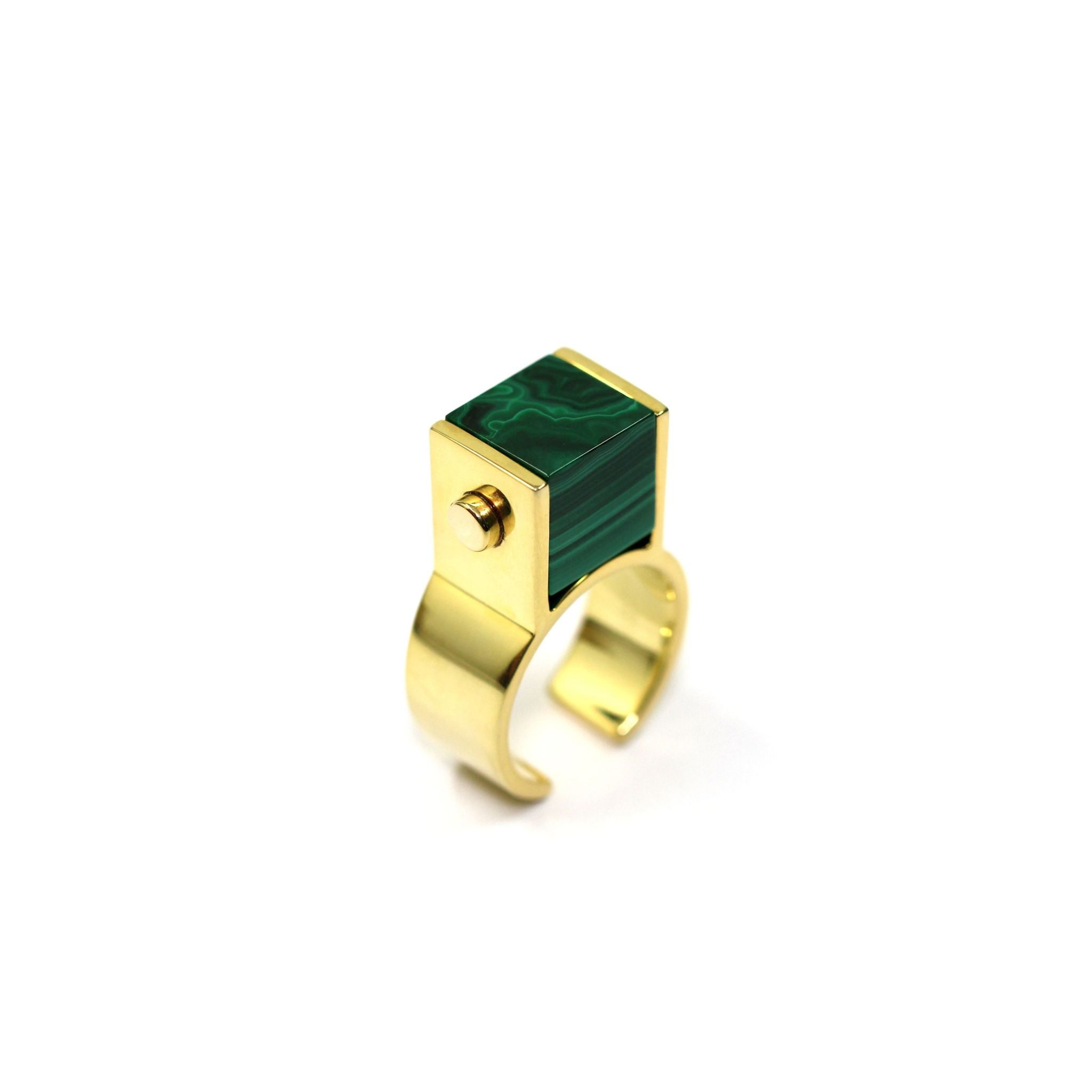 Fang Yuan Square Bead Ring-Rings-Everard & Wang