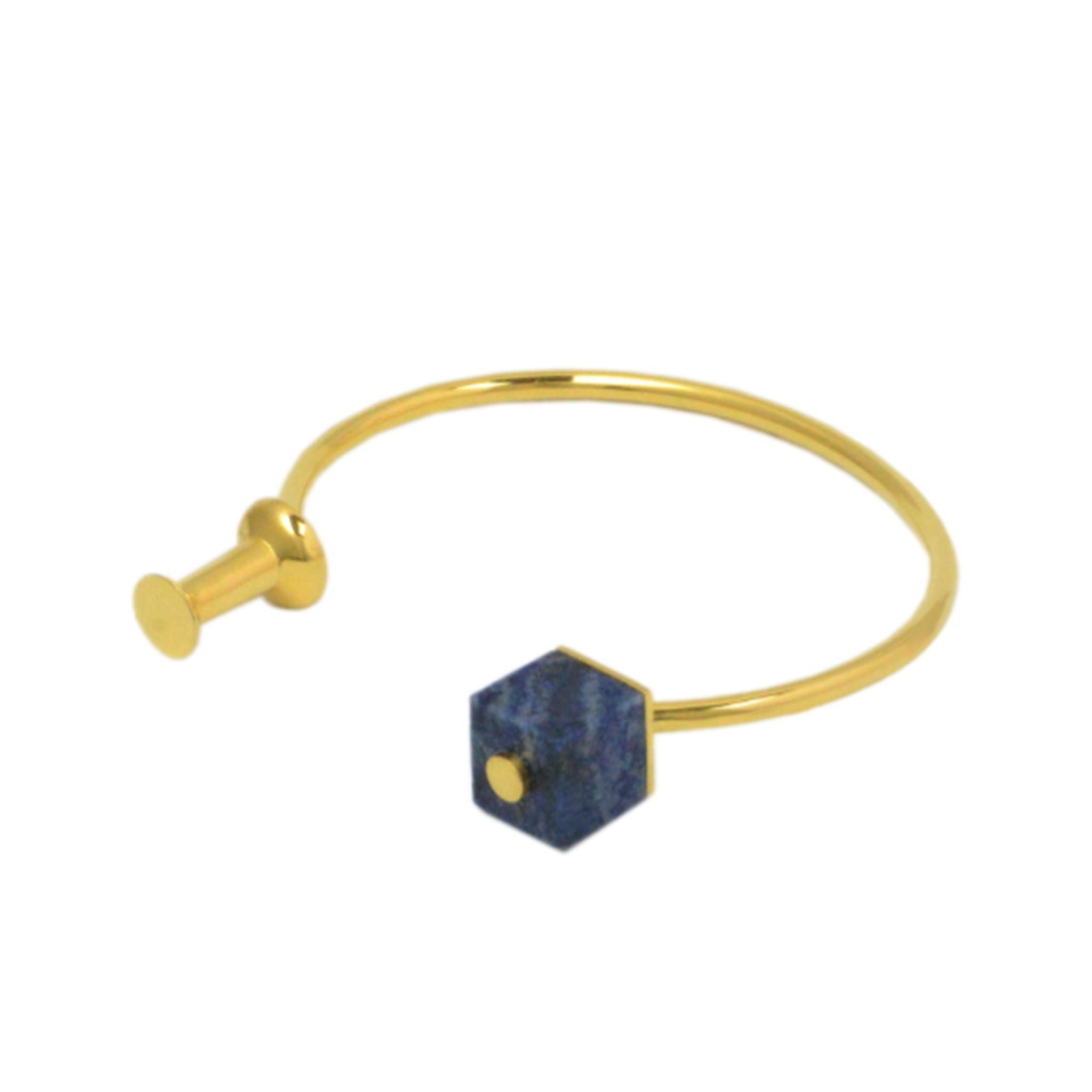 Push Pin and Square Bead Open Top Bangle-Bangles-Everard & Wang