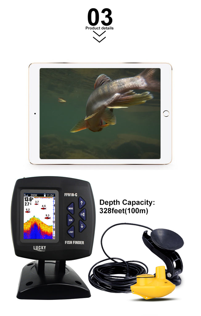 Edies Wired & Wireless 2-in-1 Boat Fish Finder Dual Frequency 3.5 LED