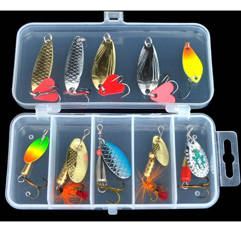 10 Pieces Spoon & Spinner Bait Set