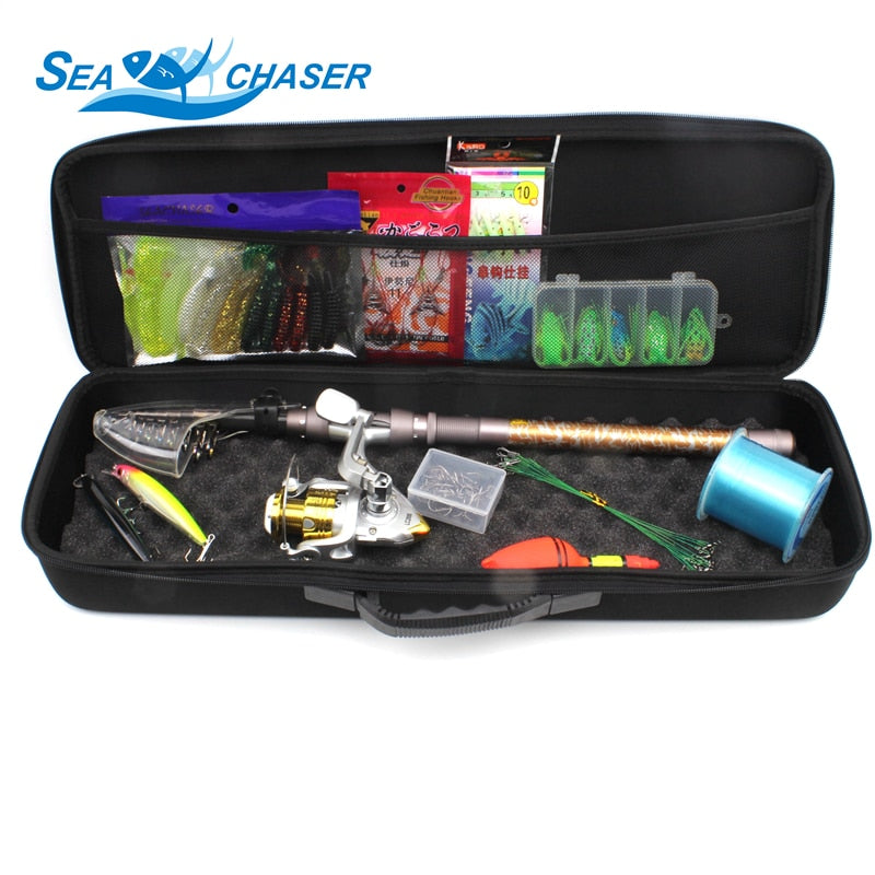 Telescopic Fishing Rod Combo Full Spinning Outfit with Tackle
