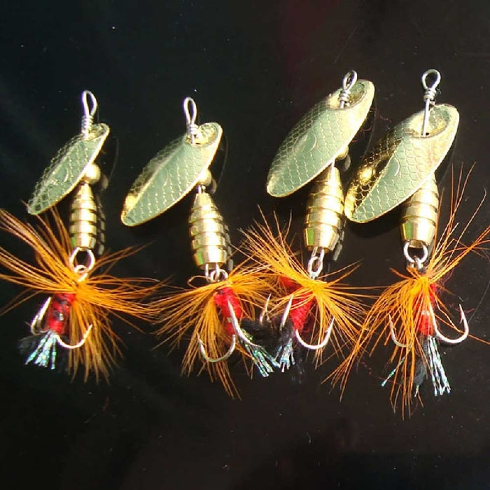 4 Piece Spinner Bait with feather flair