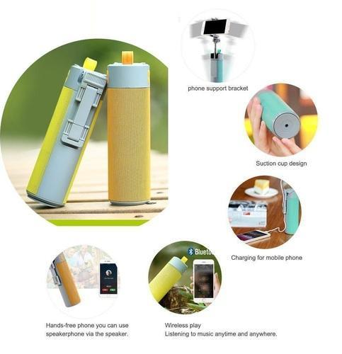 Multifunctional 5 IN 1 Wireless Bluetooth Speaker, Selfie Stick, Portable Powerbank, Self Timer, Flashlight Torch and Mobile Holder for All Mobile Phone,Video Camera