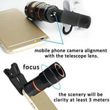 Mobile Lens Universal 8X Zoom Mobile Phone Telescope Lens with Adjustable Clip Holder-Assorted Color
