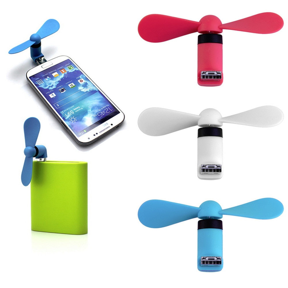 Microusb Fan Portable and Flexible for Mobile Phone,Notebook, Laptop, Power Bank (Pack of 2 -Multi-color)