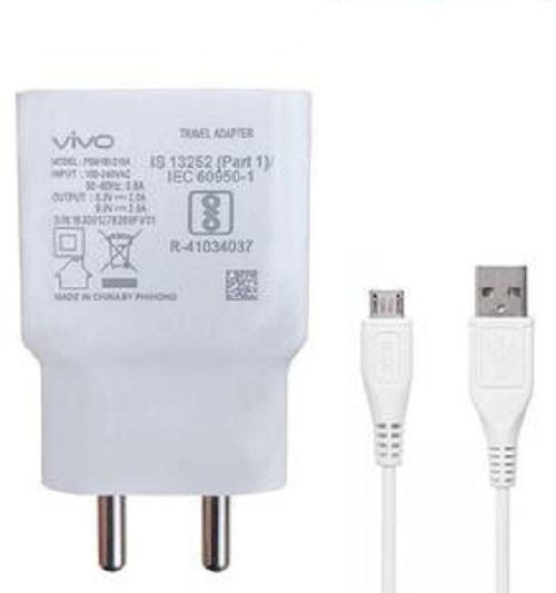 Vivo Y3 2 Amp Dual Engine Fast Mobile Charger with Data Cable 1M Cord-White-chargingcable.in