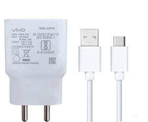 VIVO Y98 2Amp 9V Support Fast Charge Type C Mobile Charger With Cable (White)