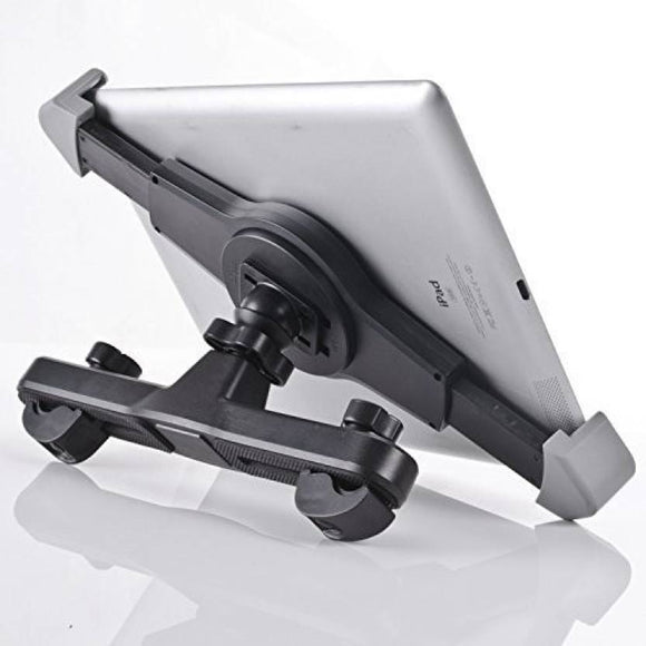 Car Back Seat Headrest Tablet Cradle & Mount - 360° Degree - Adjustable Rotating Mobile Holder for iPad & Other Tablets Upto 7