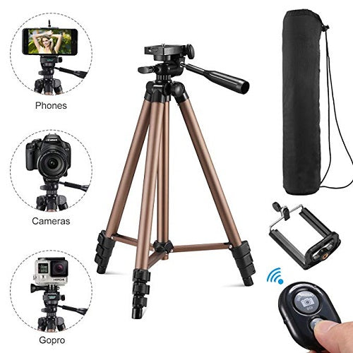 Wireless Tripod with Bluetooth Support Portable Adjustable Aluminum Lightweight Camera Stand With Three-Dimensional Head with 360 degree rotation & Quick Release Plate For Mobile and Video Cameras (Black)