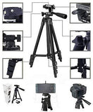 Tripod-3120 Portable Adjustable Aluminum Lightweight Camera Stand With Three-Dimensional Head with 360 degree rotation & Quick Release Plate For Mobile and Video Cameras (Black)