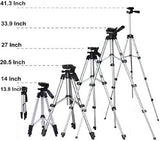 Tripod-3110 Portable Adjustable Aluminum Lightweight Camera Stand With Three-Dimensional Head with 360 degree rotation & Quick Release Plate For Mobile and Video Cameras