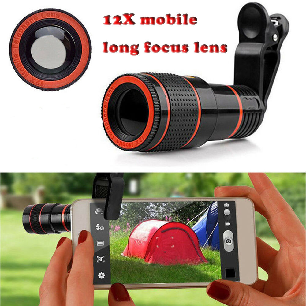 Mobile Lens Universal 12X Zoom Mobile Phone Telescope Lens with Adjustable Clip Holder-Assorted Color