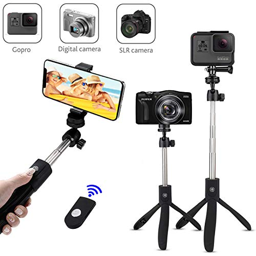Bluetooth Selfie Stick Tripod Compatible with Duisah Digital Cameras Extendable Selfie Stick with Wireless Remote and Tripod Stand for Huawei/Samsung/Google/Nokia/Oppo/Vivo Mobile Phone
