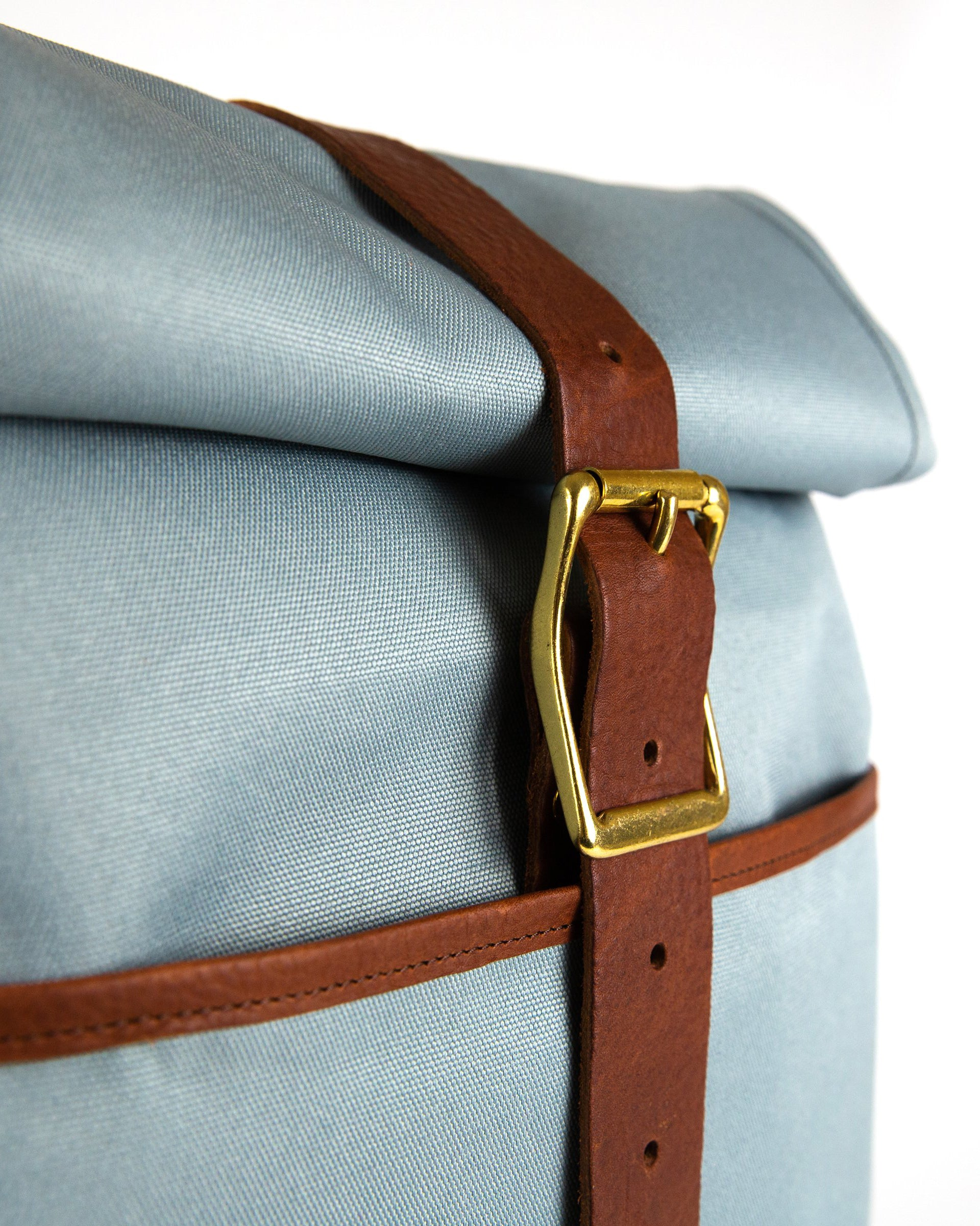 "Daypack in Light Blue with Brown Leather ""Fog Edition"""