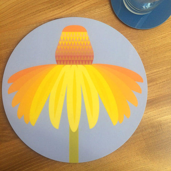 Jenny Duff Gillian Blease flower coneflower design table mats coasters placemats corkbacked Melamine Made in Britain