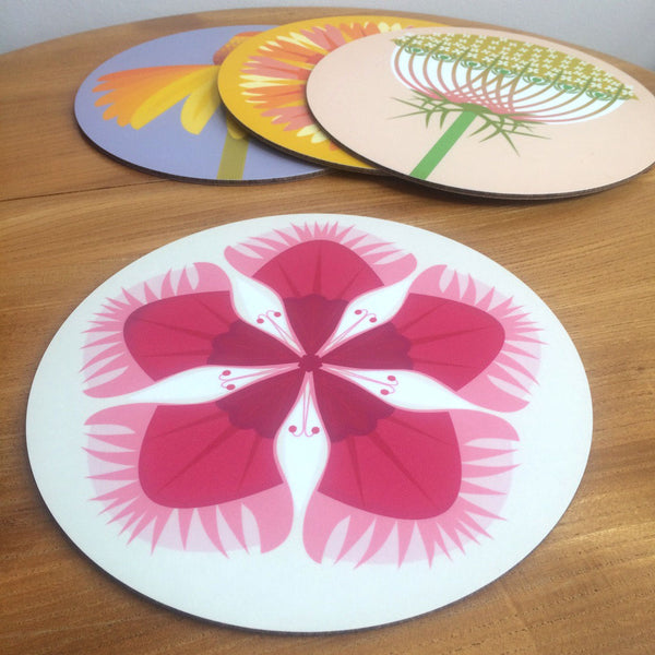 Jenny Duff Gillian Blease flower coneflower dianthus helenium wild carrotdesign table mats coasters placemats corkbacked Melamine Made in Britain