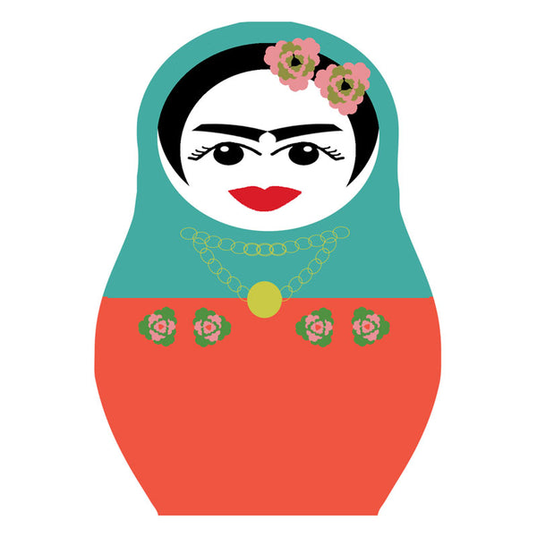 Frida Kahlo drinks coaster aquamarine and orange with pink flowers in hair Jenny Duff mats