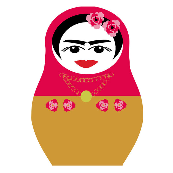 Frida Kahlo drinks coaster cerise and mustard with pink flowers in hair Jenny Duff mats