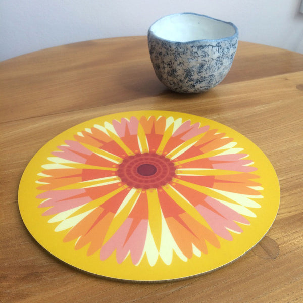 Jenny Duff Gillian Blease flower helenium design table mats coasters placemats corkbacked Melamine Made in Britain