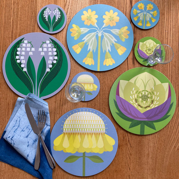 GB Flowers: Scabiousa table mats & coasters
