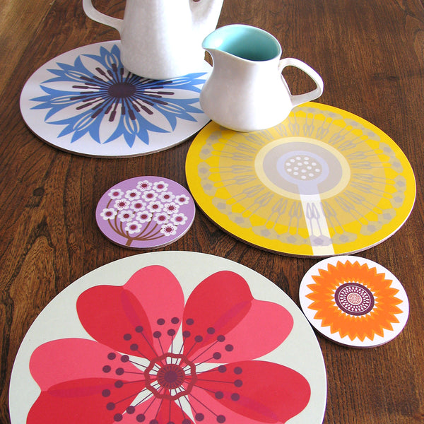Jenny Duff Gillian Blease flower cornflower dandelion verbena sunflower dogrose design table mats coasters placemats corkbacked Melamine Made in Britain