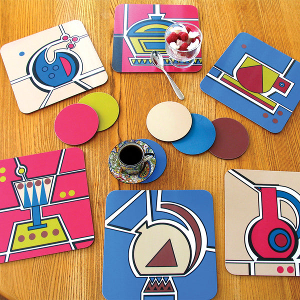 Jenny Duff Bauhaus inspired Cup Vase Jug Kettle Glass Dish design melamine placemat table mat tablemat made in Britain