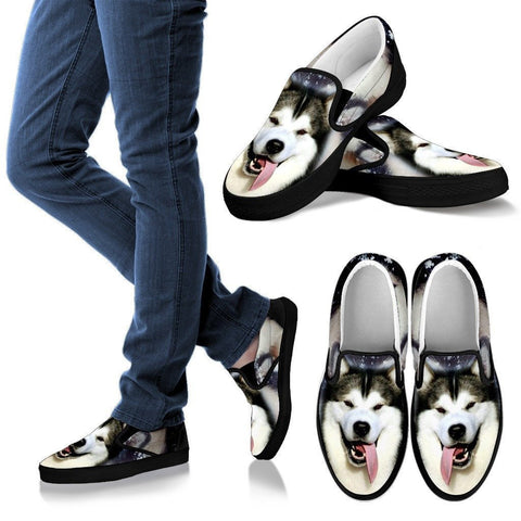 Alaskan Malamute Dog Print Slip Ons (Black) For Women Express Shipping