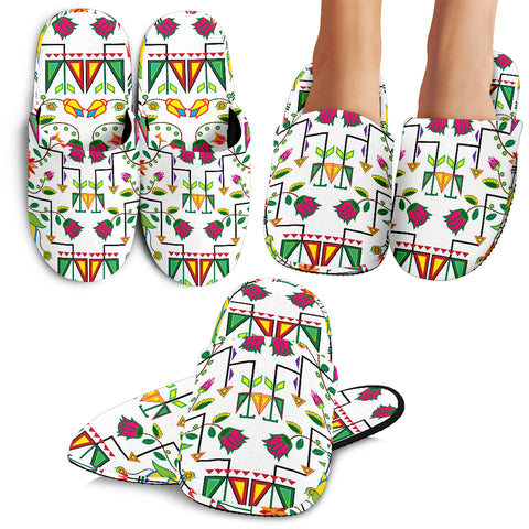 Geometric Floral Summer-White Slippers