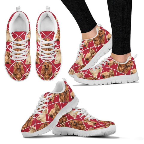 Cocker Spaniel Dog In Red Boxes Print Running Shoes For Women