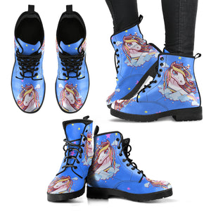 Unicorn Blue Ladies Leather Look Boots