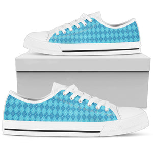 Blue Argyle Womens Low Top Shoes (White)